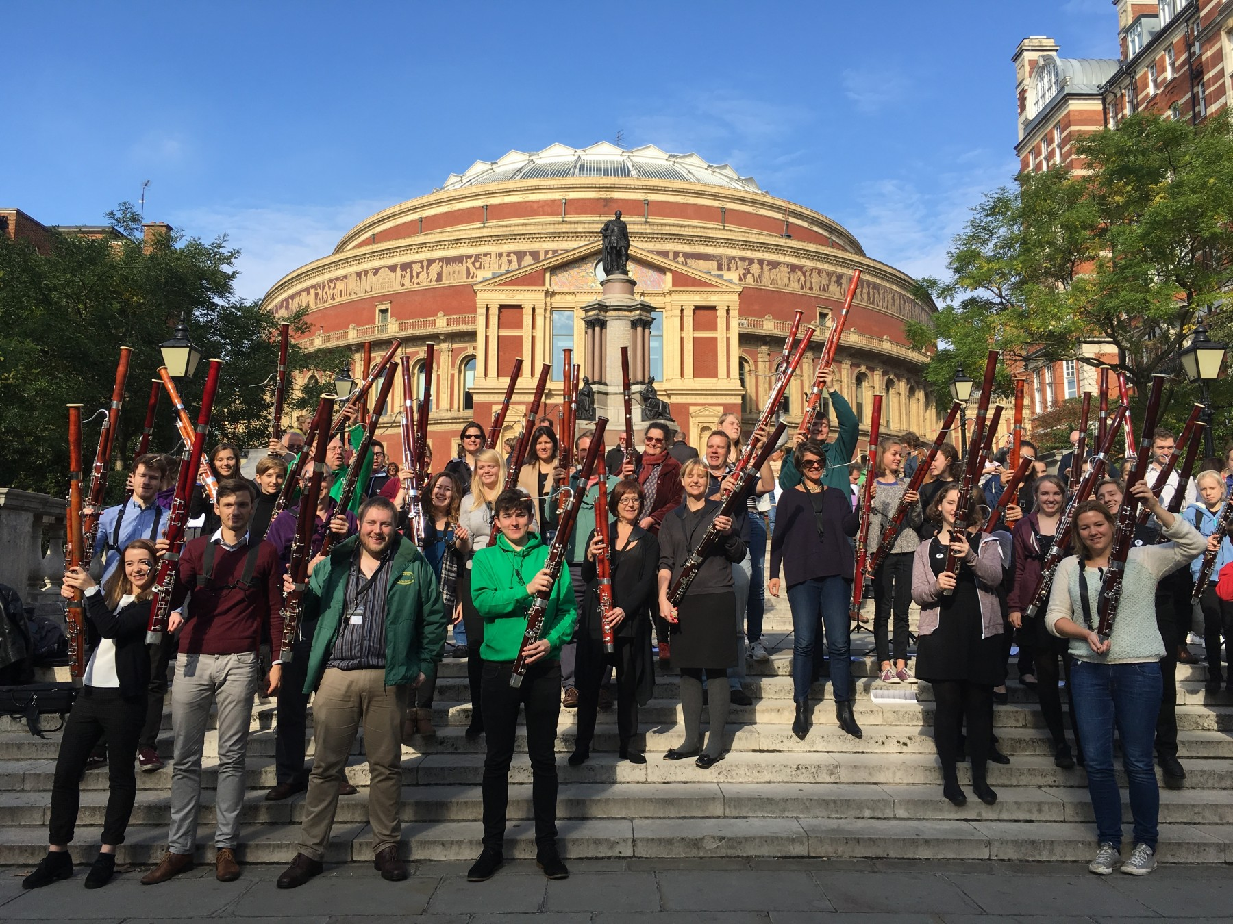 Massed bassoons outside the Royal Albert Hall, London, on International Bassoon Day, 11th October 2015 (photo by John Durham)