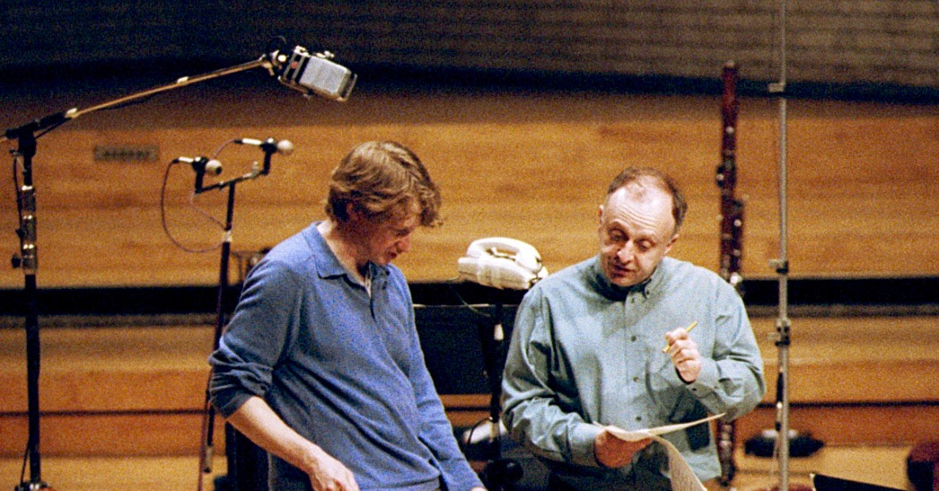 LP with conductor Douglas Boyd during Hyperion recording sessions, May 2001.