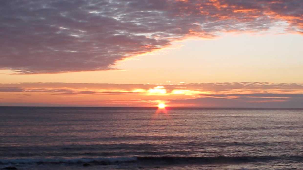 Northumbrian sunrise - the opening image in Bassoon Voyager