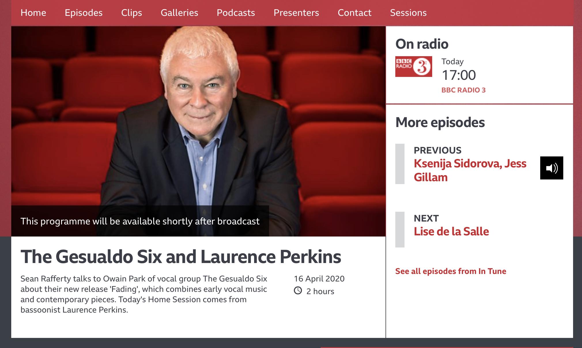 BBC R3 Sean Rafferty 16.4.2020